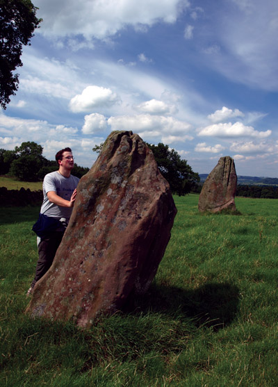 Dan Richards inspects a Harthill Moor standing stone